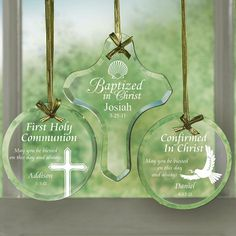 $14.99 Personalized Glass Ornaments Baptism Gift
