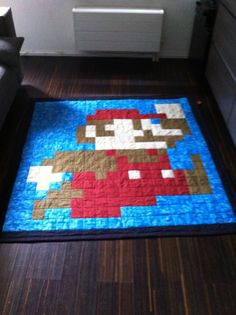 Super Mario Brother Quilt Pattern (FREE of course) i don't sew but I know too many people that do to let this slide!