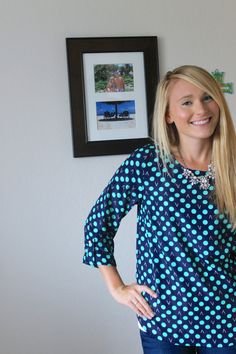 This navy and mint polka dot top is SO cute - I really love it! (Bixby Dot Print 3/4 Tab Sleeve Blouse)