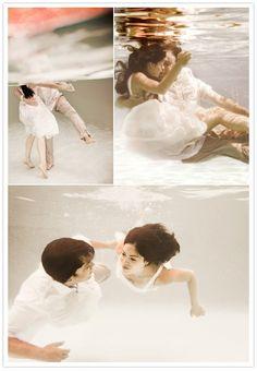 under water wedding shoot