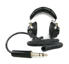 vintage Black Stereo Headphones  20 foot by Mylittlethriftstore, $40.00