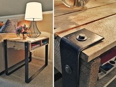 End table made from a small pallet and strips of metal from Home Depot