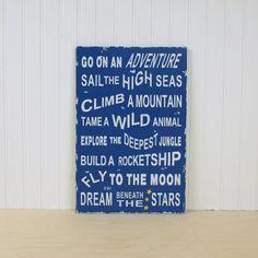 Adventure sign for a boy's room. #boy #decor #bedroom #adventure