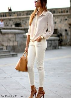 Summer look - nude color blouse and white jeans