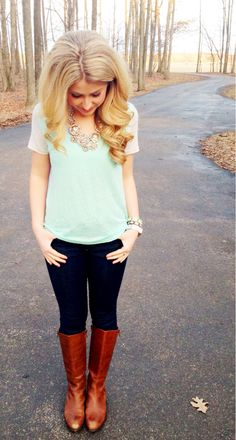 so cute. riding boots, statement necklace, mint. casual