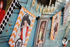 Cute idea for halloween banner using old halloween pictures.