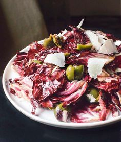 radicchio salad with green olives and parmesan