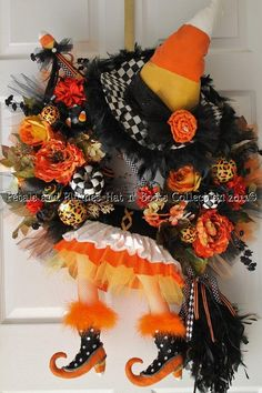 Candy Corn Witch Wreath