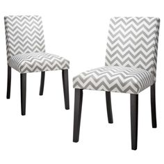 Uptown Dining Chair Set of 2 - Grey & White Chevron