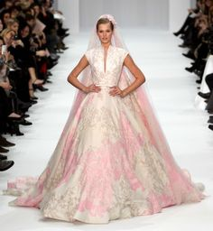 A luxe wedding dress from Elie Saab's Spring 2012 couture show