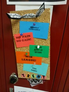 Locker signs on cork