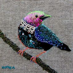 misc sew, incred embroideri, bird of paradise, hand stitch, kimika hara, sew inspir