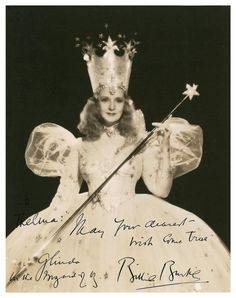 Autographed photo of Billie Burke as Glinda, the good witch in The Wizard of Oz