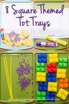 Square Themed Tot School - Including 8 Square Themed Tot Trays | #TotSchool #TotTrays #Squares