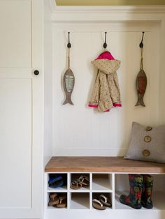 The foyer features mudroom-inspired storage.
