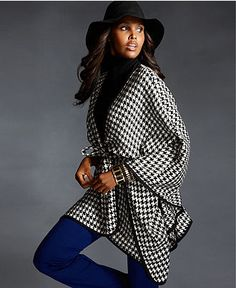 Love this look! Fall Trend Report Neo Geo Houndstooth Cape Look - Womens - Macy's.  #macysfallstyle