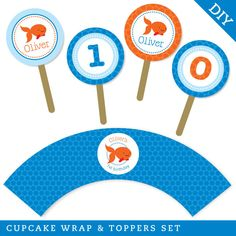 Goldfish party - Personalized DIY printable cupcake wrapper and topper set. $15.00, via Etsy.