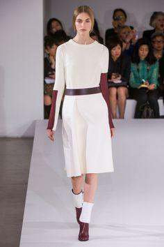 White dress with burgundy - at Jil Sander #MFW #summer 2023