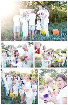 Paint Fight Family Photo! Have fun this summer taking photos of your family KristenDuke.com
