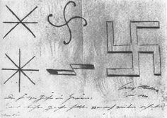 Adolf Hitler's designs for the nazi symbol (1920).