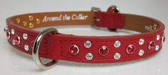 "I checked out 12"" x 5/8"" Genuine Leather Dog Collar with Crystallized Swarovski Stone Cluster on Lish, $77.40 USD"
