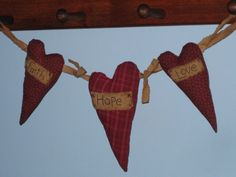 Primitive Heart Garland Fabric Faith by HomespunCreationsJDC