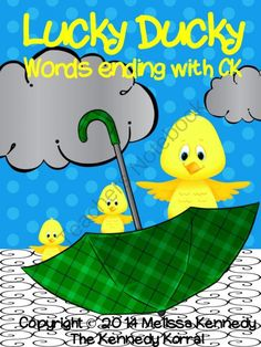 Lucky Ducky - Words Ending in CK! Enter for your chance to win 1 of 3.  Lucky Ducky - Words ending in CK (10 pages) from The Kennedy Korral on TeachersNotebook.com (Ends on on 8-23-2014)  Literacy Center Idea!