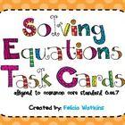 classroom idea, algebra equat, task cards, teacher stuff, 24 task, card cover, math supplement, school math, teach idea