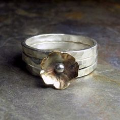 Sterling Silver Stacking Rings with Brass Flower - Petite Bloom