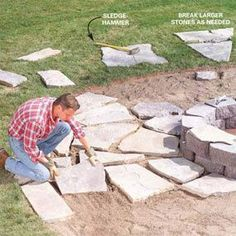 DIY Patio Instructions, looks like it may be circled around a fire pit?  With creeping ground plants in between flag stones! :) fire pits, fire pit stone, backyard fire pit landscaping, fire ring, firepit, diy patio fire pit, backyard fire pit diy, flag stone patio, diy patio stone