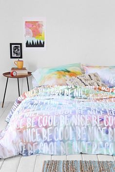 Plum  Bow Be Cool Be Nice Duvet Cover