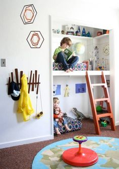 "By taking over an odd-shaped closet and building in a sleeping platform, you get two ""bedrooms"" from one small space. The rest of the room now serves as a shared playroom. All the clothes can go into a dresser or wardrobe and you won't even miss the closet."