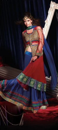 Trendy Fall colors - blue and burnt orange are on runways of #bridal fashion week.