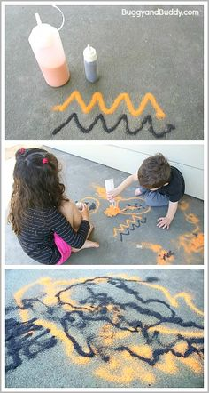 Process-Based Art for Halloween: Draw with orange and black sand outside!~BuggyandBuddy.com