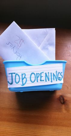 """A no pressure way to get kids to do chores. I created """"job openings"""" placed each in a basket with the amount for each """"job"""" labeled on the outside of the envelope. Inside is a ticket, also labeled with the amount the job pays. So, the kid selects the job, turns the envelope in to supervisor, when job is complete payment is made :)  Working great so far!"""