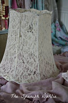 DIY:  Lace Lampshade Tutorial - made from an old lace shirt & a lampshade frame.