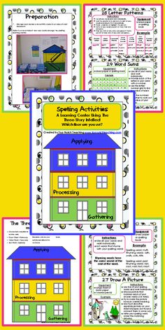This spelling center includes 22 different spelling activities that have been classified into the three different levels of thinking: gathering, processing and applying. It is appropriate to use with any spelling list! $ http://www.teacherspayteachers.com/Product/Spelling-Activities-A-Learning-Center-Using-The-Three-Story-Intellect