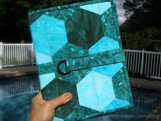 """Here's a creative patchwork, sewing project, an e-reader tablet cover designed by Nancy Zieman. The design is a faux-hexagon--no """"Y-Seams.!"""""""