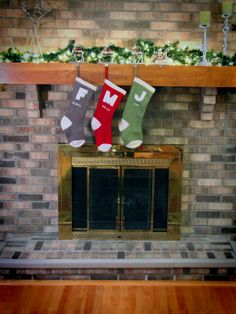 A dressed up holiday mantle and classic stockings... #PFDecorates