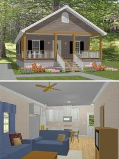 "Free Plans for a Pretty, 784 Square Foot, Southern, ""Shotgun"" Style Cottage from Vaughan's Home Design LLC- Click through to see a floor plan or to download complete free construction plans."