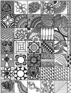 squar, art journal, quilting patterns, inspirational drawings, zentangl sampler, color, doodle art, design, zentangle patterns
