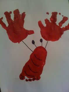 Lobster gram!  I love doing these for a cute way to keep up with the kids' feet and hand prints.  What a fun one to do for summer!