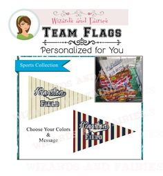 Vintage Baseball Party Decoration...DIY Team Flags {Choose your colors & wording}