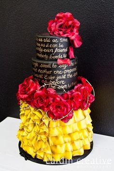 Beauty and the Beast Wedding Cake. I WANT THIS!!!