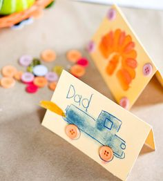 Occupy your kids at Thanksgiving with DIY placecards! Find more crafting ideas here: http://www.bhg.com/thanksgiving/crafts/easy-thanksgiving-kids-crafts/?socsrc=bhgpin101514placecards&page=5
