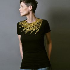 Womens Fashion Black T shirt  Metallic Gold Bird by sealmaiden, $28.00