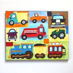Transportation Wall Art for Boys Room, Vroom No. 19   11x14 acrylic painting   ©nJoy Art, via Etsy.