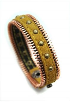 Stud Zip Leather Bracelet