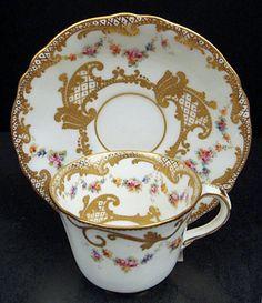 Charming Antique Crown Derby Demitasse Cup & Saucer
