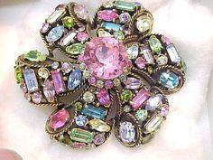 Hollycraft Multi-Color Rhinestone Pin 1957